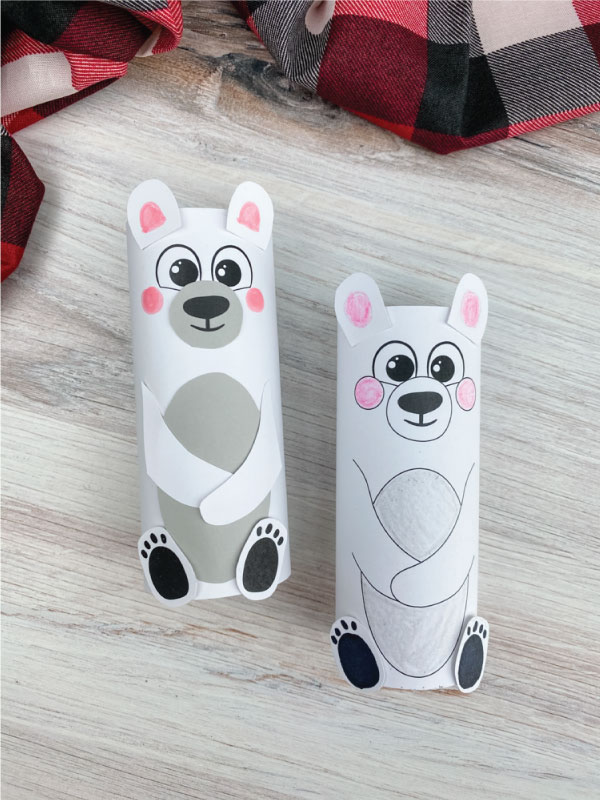 two toilet paper roll polar bear crafts
