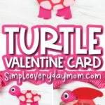 pink and red turtle valentine card craft image collage with the words turtle valentine card in the middle