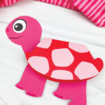 pink and red turtle valentine card craft