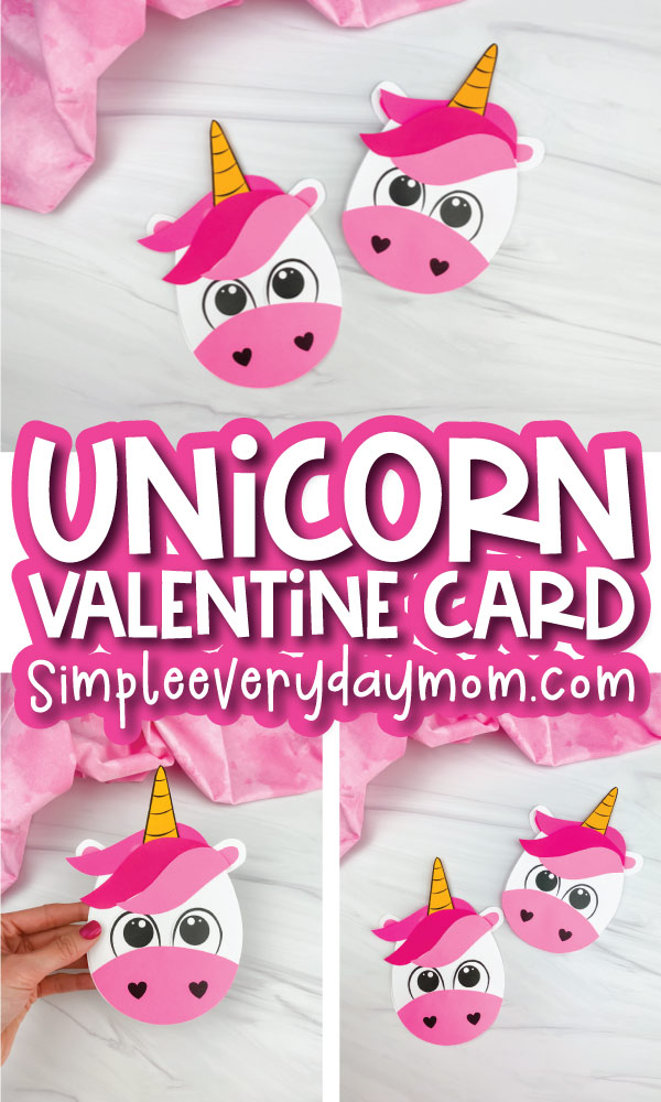 unicorn card craft image collage with the words unicorn valentine card in the middle