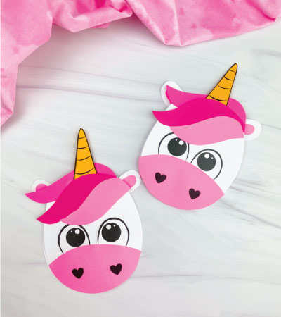 two unicorn valentine card crafts