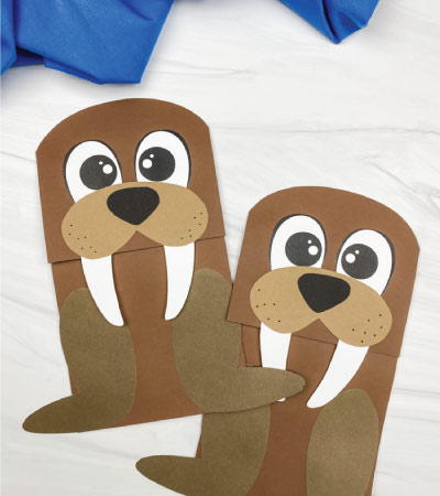 two walrus paper bag crafts