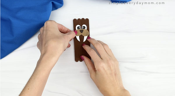 hand gluing nose and mouth to popsicle stick walrus craft