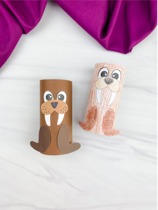 two toilet paper roll walrus crafts