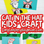 cat in the hat craft image collage with the words cat in the hat kids' craft in the middle