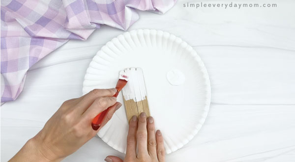 hand painting popsicle stick white