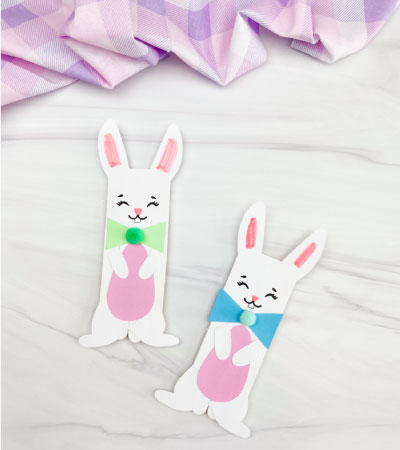 2 popsicle stick Easter bunny crafts