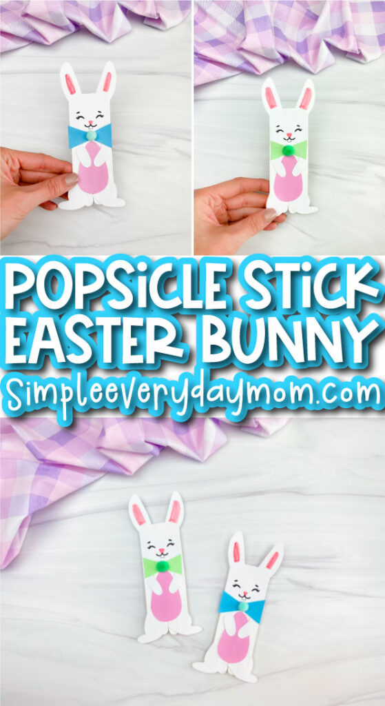 popsicle stick Easter bunny craft image collage with the words popsicle stick easter bunny in the middle