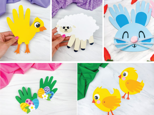 handprint Easter crafts image collage