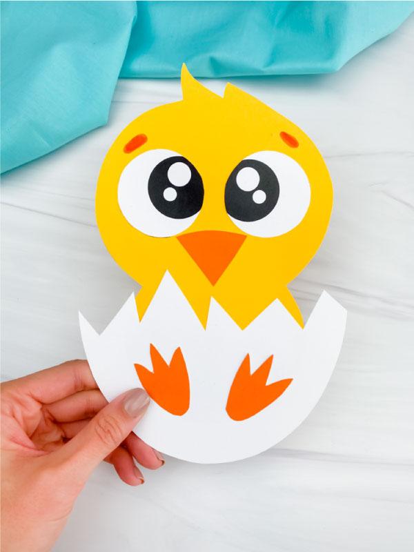 hand holding hatching chick craft