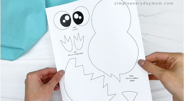 hand holding hatching chick craft template