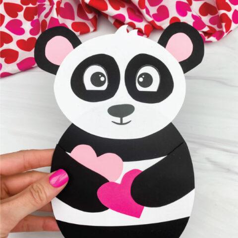 hand holding panda valentine craft
