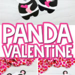 panda valentine craft image collage with the words panda valentine in the middle