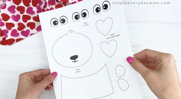 hand holding panda valentine craft template