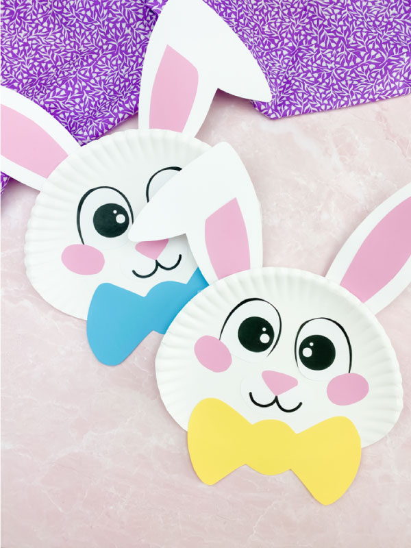 two paper plate Easter bunnies