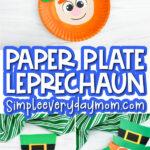 paper plate leprechaun craft image collage with the words paper plate leprechaun in the middle