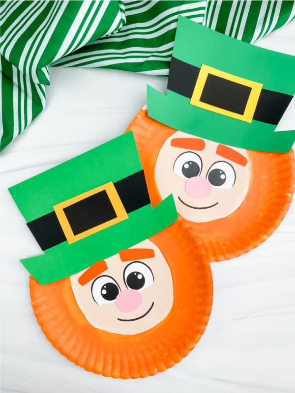 two paper plate leprechaun crafts