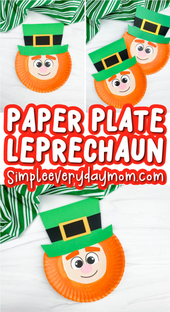 paper plate leprechaun craft image collage with the words paper plate leprechaun in the middle