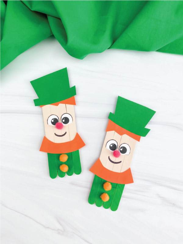 two popsicle stick leprechaun crafts
