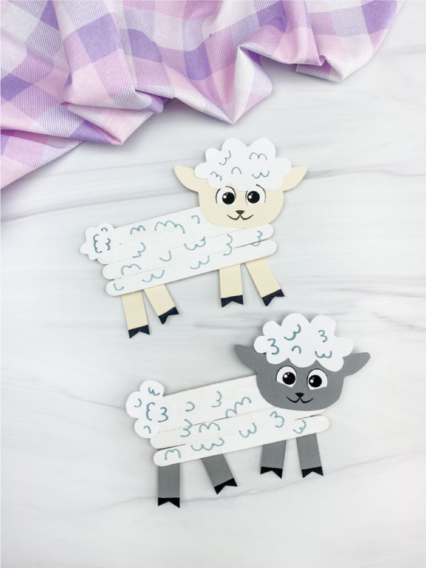 two popsicle stick sheep crafts