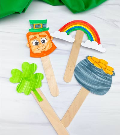 St. Patrick's Day popsicle stick puppets