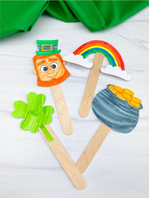 St. Patrick's Day popsicle stick puppets