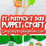 St. Patrick's Day popsicle stick puppet image collage with the words St. Patrick's Day puppet craft in the middle