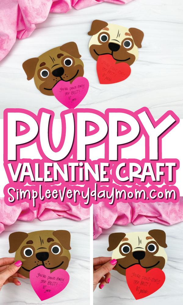 puppy valentine craft image collage with the words puppy valentine craft in the middle