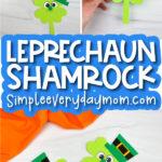 shamrock leprechaun craft image collage with the words leprechaun shamrock in the middle