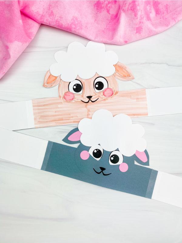 sheep headband craft laying flat