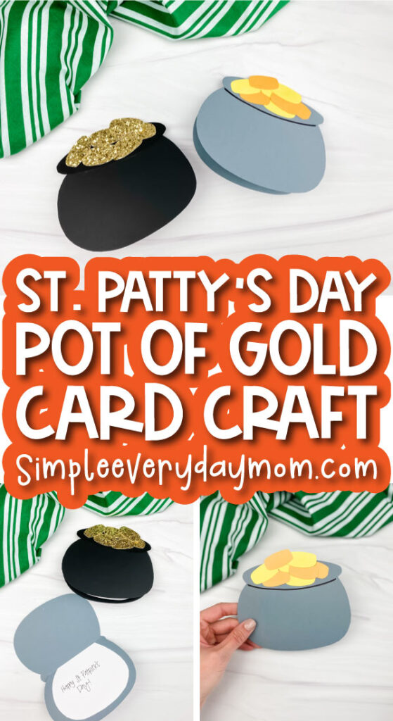 pot of gold card craft image collage with the words st. patty's day pot of gold card craft in the middle