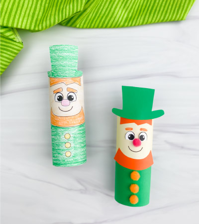 two toilet paper roll leprechaun crafts