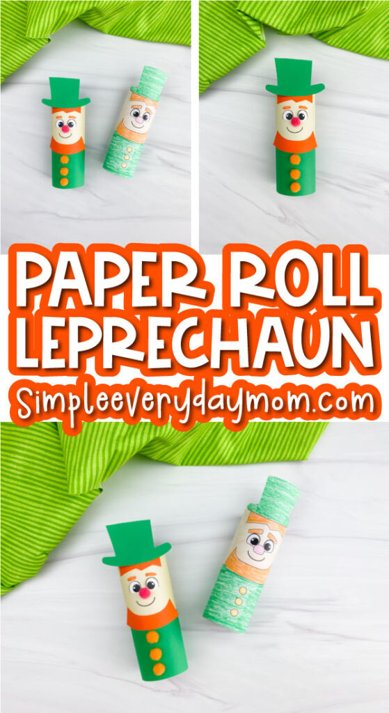 toilet paper roll leprechaun craft image collage with the words paper roll leprechaun in the middle
