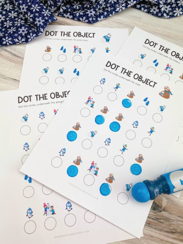 winter dot the object printables