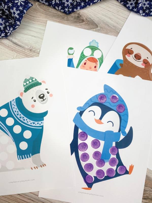 winter do a dot art printables