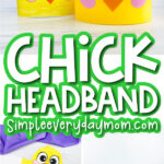 chick headband craft image collage with the words chick headband in the middle