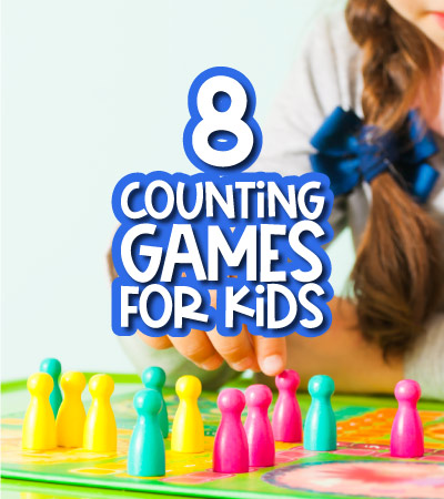 child playing game with the words 8 counting games for kids on it