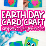 Earth card craft image collage with the words Earth Day card craft in the middle