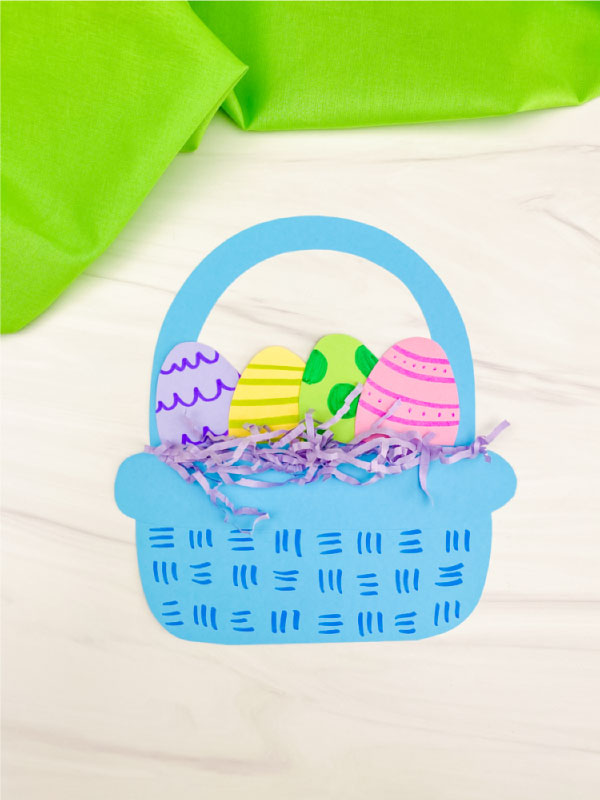 blue paper Easter basket craft