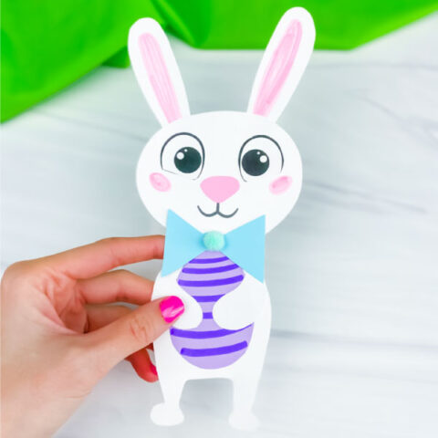 hand holding Easter bunny craft