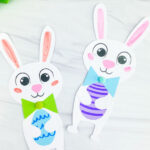 closeup of two Easter bunny crafts
