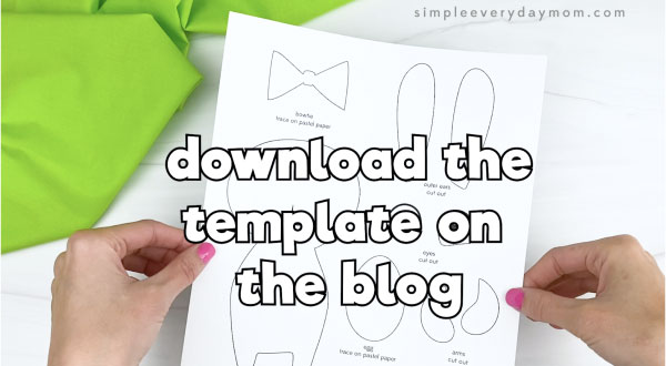 hand holding Easter bunny craft template