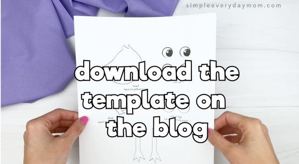 hand holding handprint chick template