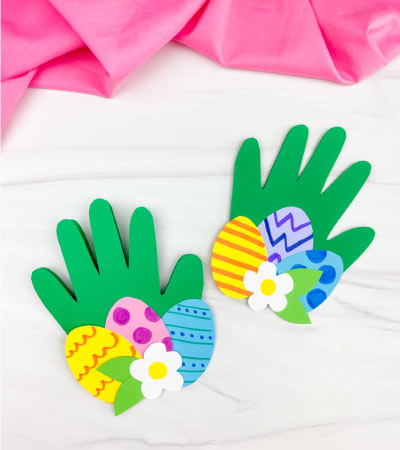 two handprint Easter card crafts