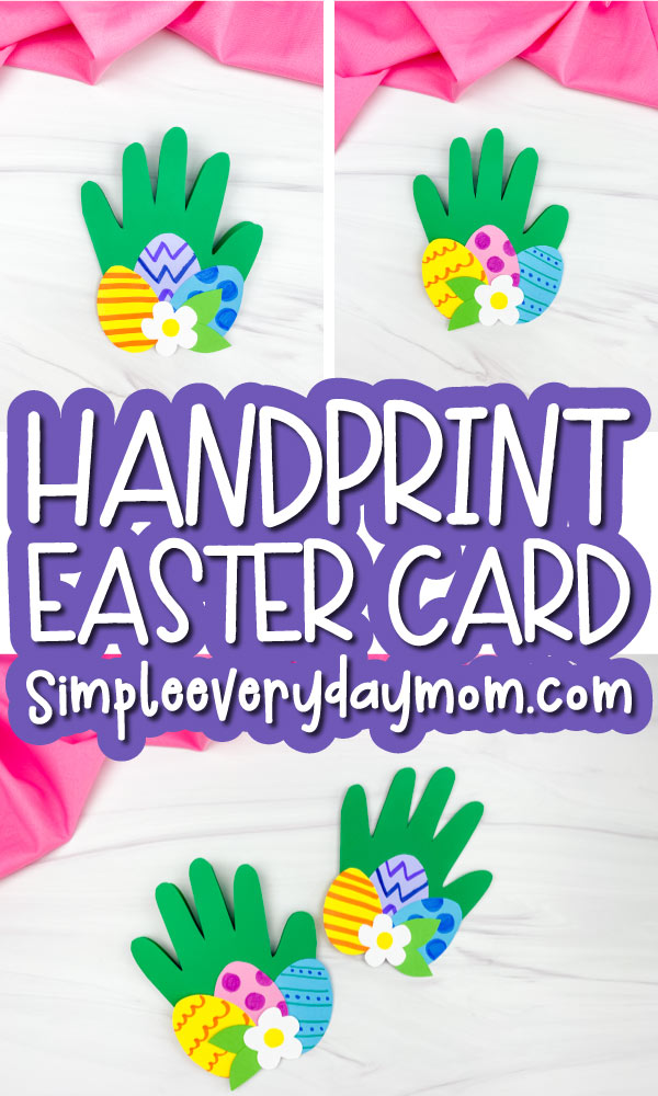 handprint Easter card craft image collage with the words handprint Easter card in the middle