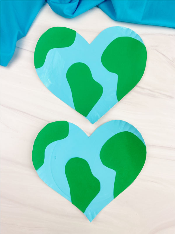 two hearth shaped paper plate Earth crafts