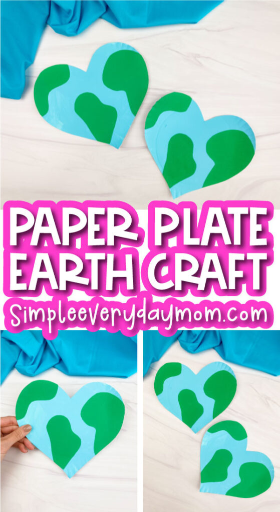 paper plate Earth craft image collage with the words paper plate Earth craft in the middle