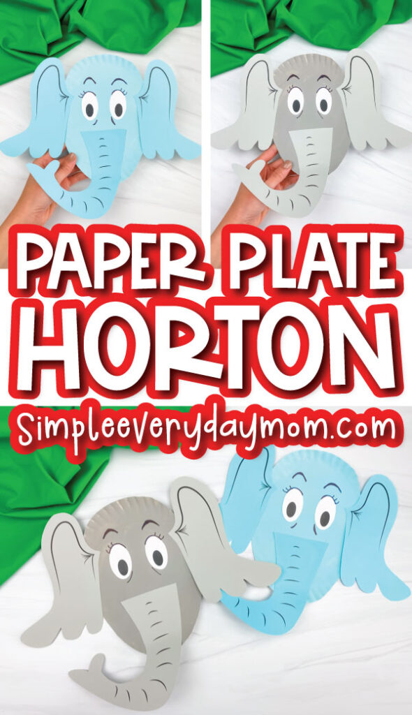 horton craft image collage with the words paper plate horton in the middle
