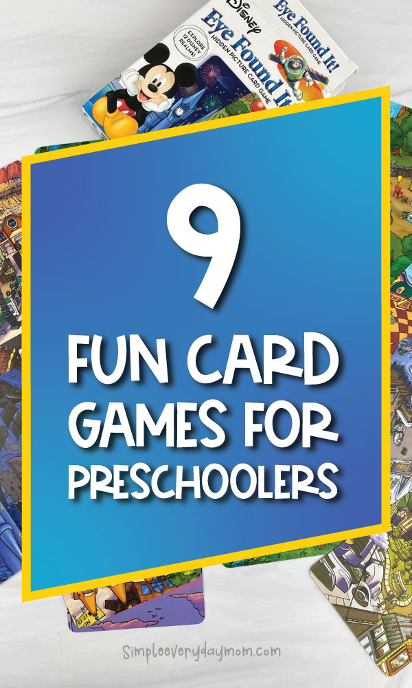 board game image with color overlay that says 9 fun card games for preschoolers