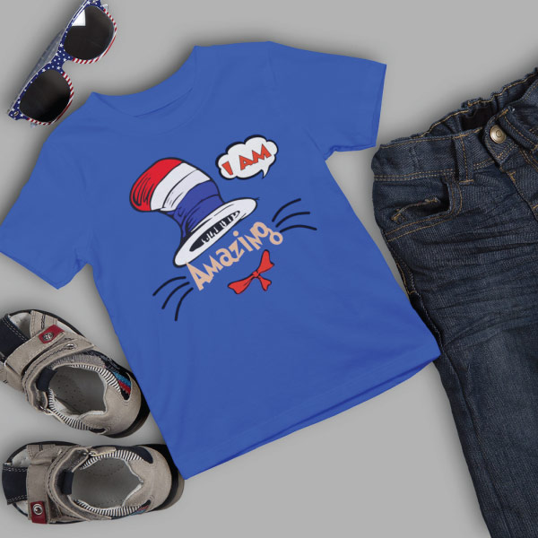 dr seuss shirt with glasses, sandals and pants